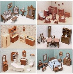 Greenleaf 6 Room Furniture Kit Inch Scale - Create a sophisticated lounging arrangement with the Greenleaf Library Furniture Kit Set - 1 Inch Scale . With such classic elements as a grand piano. Wooden Dollhouse Kits, Dollhouse Furniture Kits, Barbie Furniture, Miniature Furniture, Dollhouse Miniatures, Bookshelf Dollhouse, Victorian Dollhouse, Dollhouse Ideas, Library Furniture