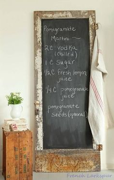 Old door as a chalkboard