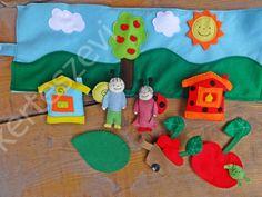 """Bogyó és Babóca filc interaktív """"játékpad"""", """"játszószőnyeg"""", Játék, Játékfigura, Készségfejlesztő játék, Plüssállat, rongyjáték, Meska"""