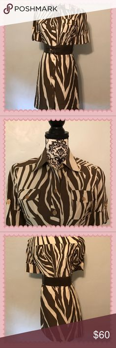 Brown and cream zebra print dress Bottom front.  Belt included. Dress 97% cotton 3% spandex ANTONIO MELANI Dresses