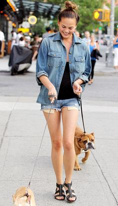 Chrissy Teigen's Guide To Walking Your Dog In Style via @WhoWhatWear