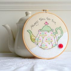 Embroidery hoop green teapot machine embroidery by rachelandgeorge, £25.00