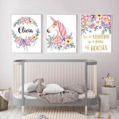 Personalized Girl Nursery Wall Art Unicorn Canvas Poster – My Urban One Kids Room Wall Decals, Nursery Wall Art, Girl Nursery, Nursery Decor, Nursery Room, Girl Room, Nursery Themes, Nursery Ideas, Unicorn Wall Art