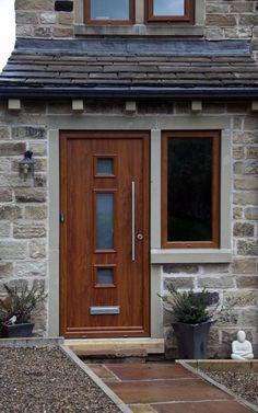 Genoa composite door in Oak with satin glass and handle. Contemporary Front Doors, Contemporary Desk, Composite Door, Home Upgrades, See Images, First Home, House Front, Wood Doors, Door Design