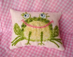 Cute Frog Original Wool Embroidered Pillow Made to by YelliKelli, $35.00