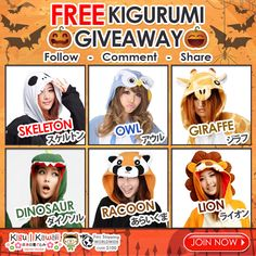 Free Halloween Kigurumi Giveaway ♥ Halloween is coming! Get your Boo-tiful Costumes NOW! Kigu Kawaii is giving away any of these comfortable kigurumi onesies for FREE! Just follow the mechanics and tag 5 friends to increase chances of winning! 1 winner will receive 1 kigurumi of his/her own choice. Contest will run from October 2, 2015 - October 7, 2015. We will announce our winner on our newsletter and social media accounts on October 8 2015. Good Luck! JOIN NOW ► http://on.fb.me/1JILgIU