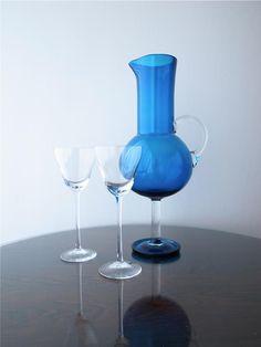 """Nanny Still """"Harlekiini"""" Jug Finland Wine Glass, Glass Vase, Art Of Glass, Egg Holder, Vases, Modern Glass, Glass Collection, Glass Design, Scandinavian Design"""