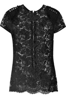 Markus Lupfer sheer rose-print black lace top with black studs and chiffon-embellished shoulders, short sleeves, high round neck, exposed silver-tone zipper at the back and a scalloped hem Givenchy Boots, Rose Lace, Black Lace Tops, Scalloped Lace, Eclectic Style, Black Skinnies, Dress To Impress, Markus Lupfer, Autumn Fashion