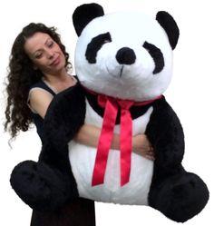fdd29fe0890 American Made Giant Stuffed Panda 32 Inch Huge Soft Plush Bear Made in USA  America