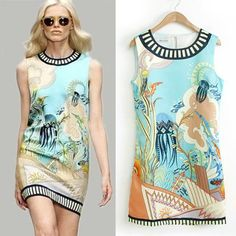 Runway style 2015 new spring summer Sea animal print light blue straight dress design dress real photo-in Dresses from Women's Clothing & Accessories on Aliexpress.com | Alibaba Group