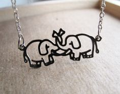 Silver Elephant Love Necklace  Standard Length  by itsastitch, $18.00