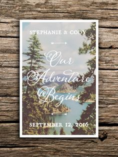 Bohemian Adventure Postcard Save the Date // Mountain Save the Date Postcard Idaho Wedding Lake River Pacific Northwest Adventure Begins by factorymade on Etsy https://www.etsy.com/listing/248784645/bohemian-adventure-postcard-save-the
