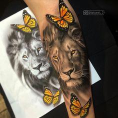 Lion Tattoo On Thigh, Lion Forearm Tattoos, Lion Tattoo Sleeves, Lion Head Tattoos, Spine Tattoos, Best Sleeve Tattoos, Lion And Rose Tattoo, Feminine Tattoo Sleeves, Animal Tattoos For Women