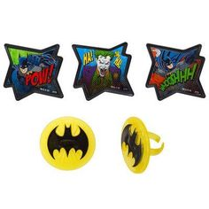 Batman  Pow Whooshhh and Joker  Cupcake Rings  24 ct * Want additional info? Click on the affiliate link Amazon.com on image.