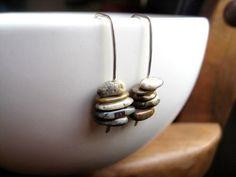 picture jasper earrings. sterling silver earrings. stone jewelry. modern splurge. on Etsy, $34.00