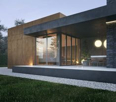 The house, with an area of square meters was designed for a small family. The cottage includes a kitchen-living room, bedroom and children's room. Functionally, the house is divided into 2 parts - personal and general. This is also highlighted in th… Contemporary House Plans, Modern House Plans, Modern Residential Architecture, Architecture Design, Pavilion Architecture, Chinese Architecture, Futuristic Architecture, Sustainable Architecture, House Roof