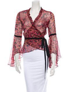 """Diane von Furstenberg Silk Blouse, red & pink lipstick, silk - size 2 = 34"""" bust"""