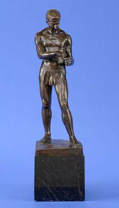 Schmidt-Felling, Julius Paul 1835 Berlin - 1920 Berlin Faustkämpfer. Bronze. Signiert. Gießerstempel 57 cm