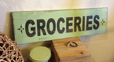 Groceries handpainted vintage wood sign  Jadite color by kspeddler, $30.00