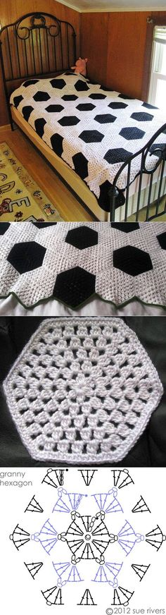 Crochet blanket hexagon quilt patterns ideas for 2019 Crochet Hexagon Blanket, Hexagon Quilt Pattern, Crochet Bedspread, Crochet Quilt, Crochet Blocks, Crochet Squares, Crochet Blanket Patterns, Crochet Granny, Square Blanket