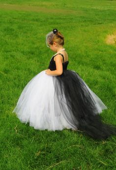 Black and White Tutu Flower Girl Dress with by MyLilPeepsBoutique, $80.00