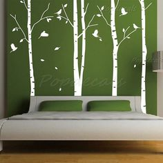 """Hot Sale Tree Wall Murals Living Room Wall Decals Office Tree Decals Nature Trees Decal--Set of 4 big birch trees (102"""" H)"""