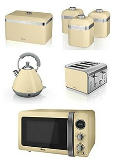Swan Kitchen Liance Retro Set Cream Microwave Pyramid Kettle 4 Slice Toaster Breadbin And 3 Canisters
