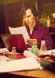 Sherlock reads.
