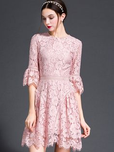 SheIn offers Pink Round Neck Bell Sleeve Lace Dress & more to fit your fashionable needs. Trendy Dresses, Simple Dresses, Nice Dresses, Casual Dresses, Bodycon Outfits, Dress Outfits, Fashion Dresses, Dress Brokat, Lace Dress With Sleeves