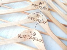 Wedding Hanger (set of 6) Personalized Bridal Wedding accessories. Bridesmaid Rustic Wedding Hanger.