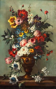 quenalbertini: Floral Still Life in Golden Urn by Adrien Joseph Verhoeven Ball, century Small Flower Bouquet, Flower Art, Art Floral, Victorian Flowers, Victorian Era, Edwardian Style, Victorian Ladies, Language Of Flowers, Still Life Art