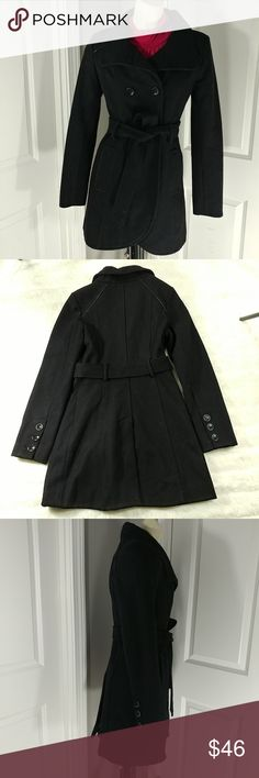 GUESS Peacoat Size-S/CH/P Black Double breasted, Wool blend Peacoat in like new condition.  Armpit to Armpit: 15.5 inches Back of neck to bottom of shirt: 32.5 inches Guess Jackets & Coats Pea Coats