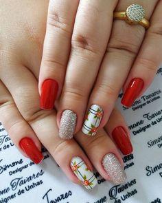 100 Fotos de Unhas decoradas Românticas Toe Nails, Nail Nail, Manicure And Pedicure, Nail Art Designs, Finger, Lily, Salons, Beauty, Roses