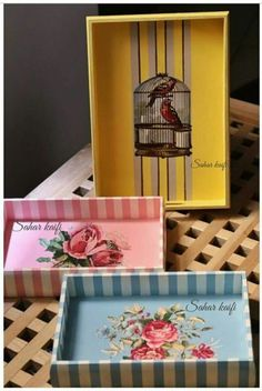Cajas de gambas Craft Projects, Projects To Try, Diy And Crafts, Paper Crafts, Merian, Decoupage Box, Painted Trays, Shabby Chic Crafts, Box Design