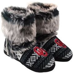 I want these!!!  Oklahoma Sooners Women's Knit Bootie - Black/White