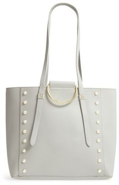 BP. Imitation Pearl Embellished Faux Leather Ring Tote #handbags