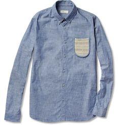 knit pocket men's chambray shirt.