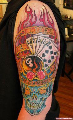 763df68b3010f Left Half Sleeve Colored Gambling Tattoo For Men Best Sleeve Tattoos, Bad  Tattoos, Tattoos