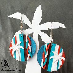 Boucles d'oreilles: palmiers sur rayures et tresse