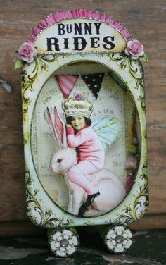 Debrina Pratt Bunny Rides via: www. Altered Tins, Altered Art, Paper Dolls, Art Dolls, Matchbox Art, Tin Art, Assemblage Art, Vintage Easter, Decoupage