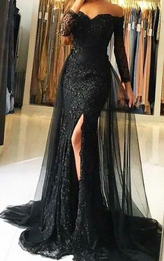 Sweetheart Full Sleeves Tulle Lace Prom Dress Custom Made Mermaid Black Long Evening Gowns Fashion Side Slit School Dance Dresses - Prom Dresses Design Lace Evening Gowns, Black Evening Dresses, Black Wedding Dresses, Black Quinceanera Dresses, Black And White Wedding Theme, Burgundy Evening Dress, Evening Gowns With Sleeves, Black Weddings, Prom Dresses Long With Sleeves