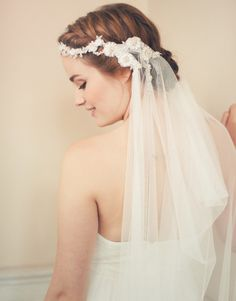 Lace adorned veil attached by a beautiful vine