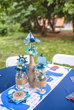 Sail On! - The Frosted Petticoat. I like the rope around the mason jars. Fancy Baby Shower, Boy Baby Shower Themes, Baby Shower Gender Reveal, Baby Boy Shower, Sailor Baby Showers, Ocean Baby Showers, Anchor Baby Showers, Whale Birthday Parties, Whale Party