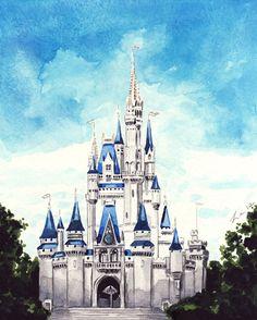 Cinderella's Castle Disney World - Giclee Print of Watercolor Painting - Disney Princess Cinderella Tinkerbell Fairytale Children's Art