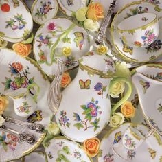 Herend dinnerware is still handpainted in Hungary... every brushstroke. You can choose a pattern with a color border to more intricate detailed florals.