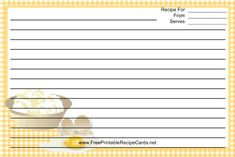 This Eggs Yellow Gingham Recipe Card features eggs and other ingredients with a yellow gingham check border. Free to download and print
