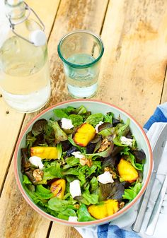 My favourite salad: Grilled peach salad with goat cheese.