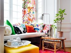 Window seat and living room inspiration via Svenskt Tenn