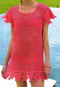 tejidos al crochet paso a paso con diagramas: Camisola calada tejida en punto red.