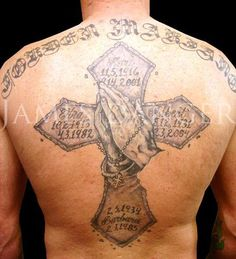 Big Cross And Praying Hands Memorial Tattoo For Men Jesus On Cross Tattoo, Faith Cross Tattoos, Cross With Wings Tattoo, Celtic Cross Tattoos, Cross Tattoos For Women, Tattoos For Guys, Hand Tattoos, Mädchen Tattoo, Tattoo Hals